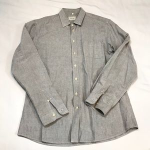 FRANK & OAK LIGHT GRAY BUTTONED FRONT SHIRT LARGE